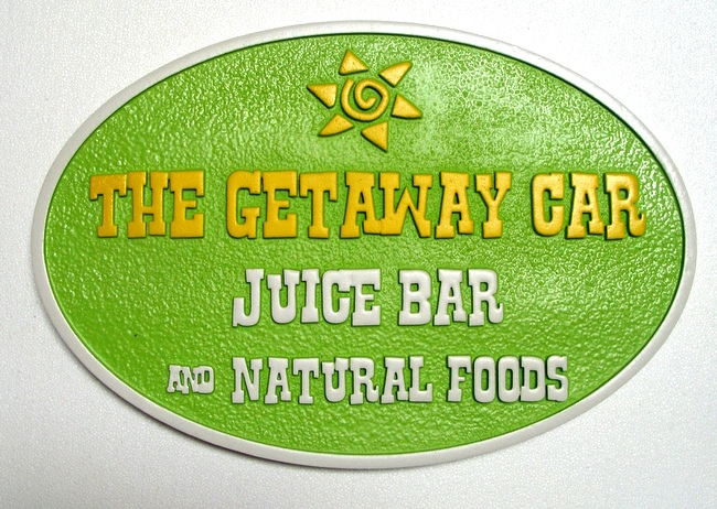 "Q25425 - Sign for Railway Restaurant ""The Getaway Car"" ""Juice Bar and Natural Foods"""""