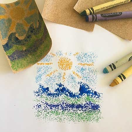 Printmaking with Sandpaper & Crayons
