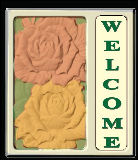 I18220 - Carved 3-D Welcome Residence Sign with Roses