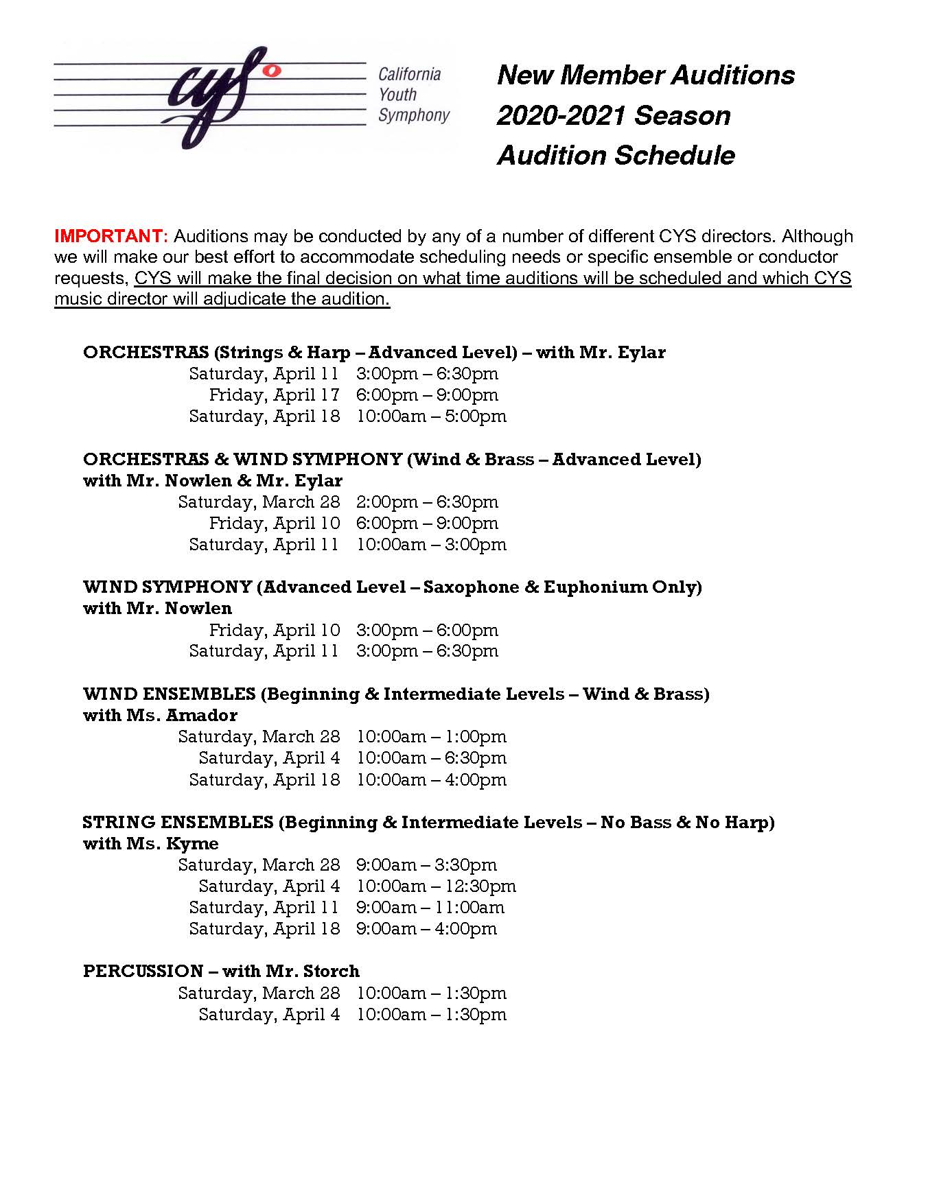 2020 New Member Audition Schedule