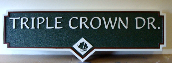 H17037- Carved Street Name Sign, Triple Crown Drive, with Engraved  Horse Head Logo