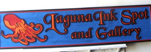 """SA28482 - Carved Sign for """"Laguna Inkspot and Gallery"""" with Octopus as Artwork"""