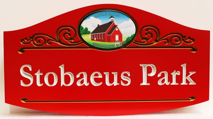 GA16425 - Carved Engraved High-Density-Urethane (HDU)  Sign for Stobaeus Park, with Artist Painting of Old Town Hall