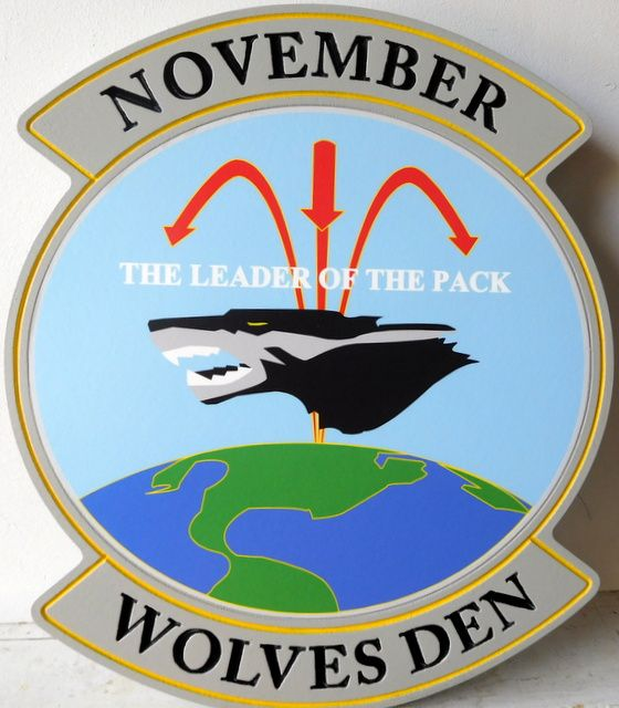 """V31538 - Air Force Wall Plaque  for the Crest of the """"Wolves Den"""""""