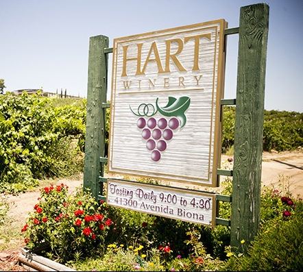 R27010 -- Large Carved and Sandblasted Entrance Sign for Hart Winery, with Grape Cluster