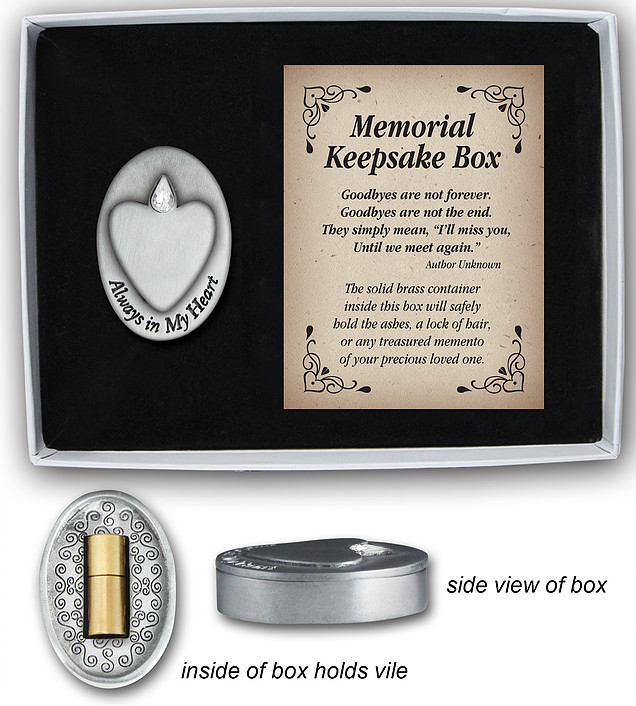 Always in my Heart Memorial Keepsake Box with vial to hold ashes