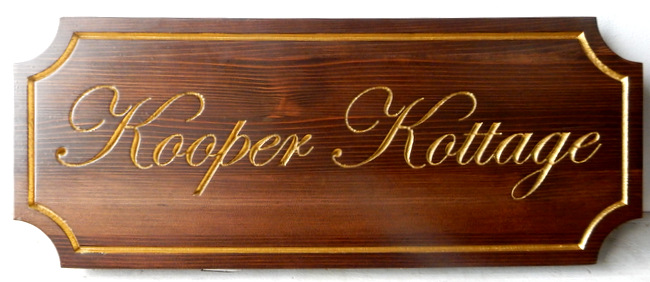M22020  Stained Cedar Cottage Sign with 24K Gold Leaf Text and Borders