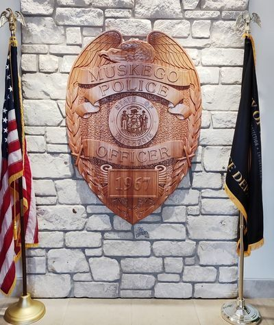 PP-1550 - Carved 3-D Mahogany Wood Plaque of a  Badge of a Police Officer of the  City of Muskego, Wisconsin , as Installed