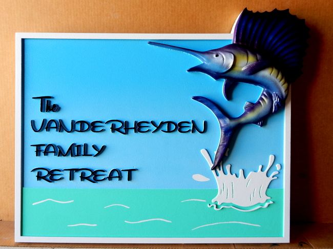 L21364 - Sign for Family Retreat with Ocean and Leaping Sailfish