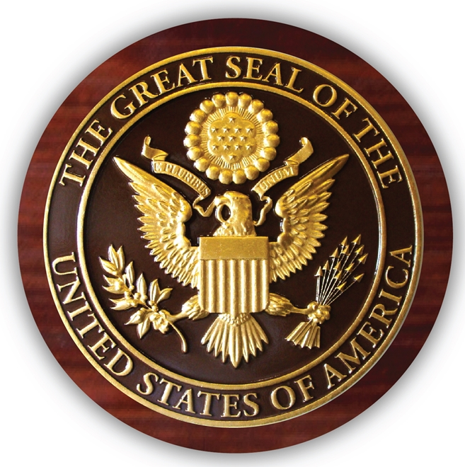 EA-2015 - Great Seal of the United States Mounted on a Mahogany Plaque