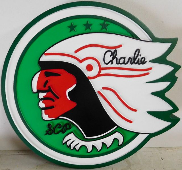 V31791 - Carved 2.5-D Wall Plaque Featuring the Crest of the US Charlie Company, with the Chief of a Native American and His War Bonnet