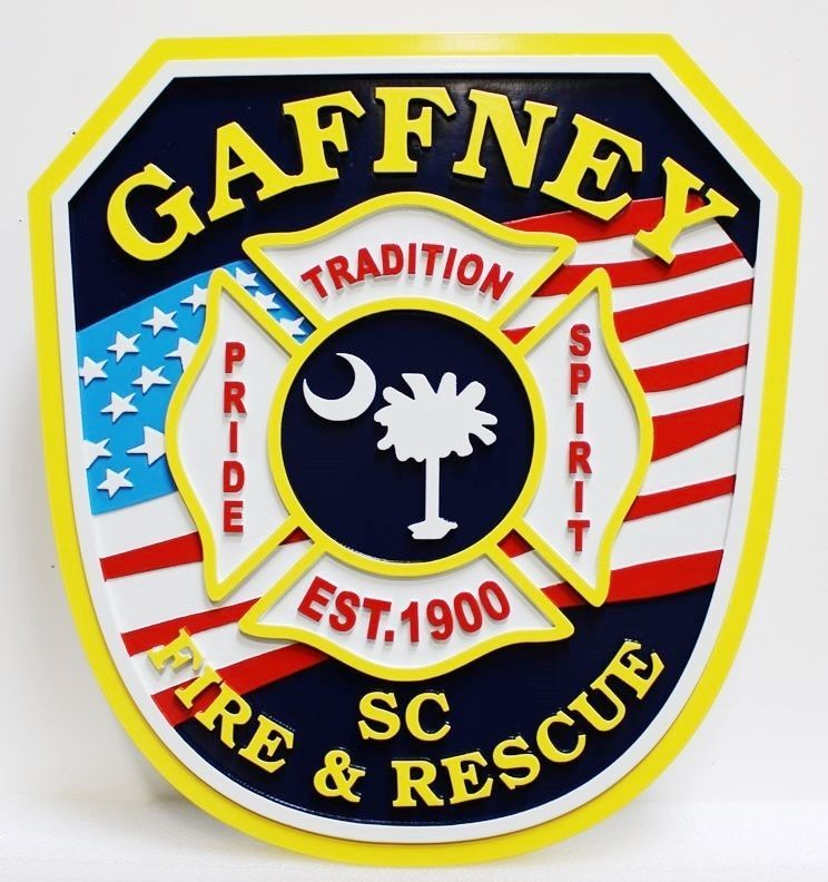 QP-2115 - Carved and Artist-Painted High-Density-Urethane Plaque of  the Shoulder Patch oftheFire & Rescue Department of Gaffney, South Carolina, with the US Flag as Artwork