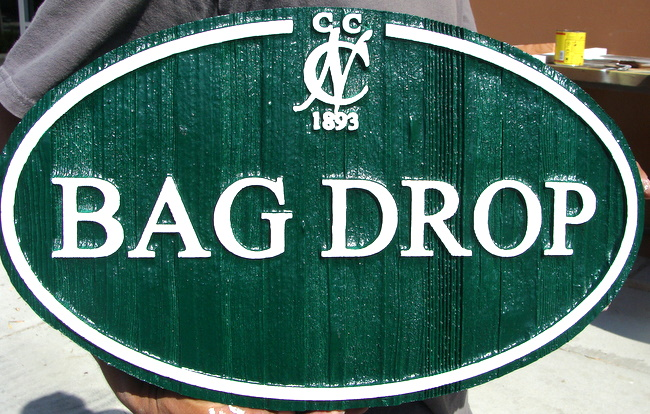 E14511 - Custom Sandblasted Wooden Bag Drop Sign for Golf Course