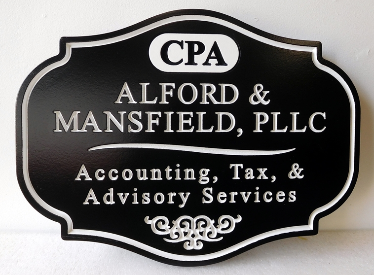 C12088 -  Engraved HDU Sign for CPA , with Accounting, Tax, and Advisory Services