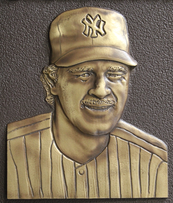 "GC16512 - 3-D Brass Wall Plaque Honoring Donald Mattingly, ""Donnie Baseball"", a New York Yankees Star Baseball Player (Close-up)"