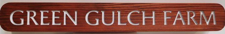 """Q24967- Engraved Cedar Farm Name Sign  """"Green Gulch Farm"""""""