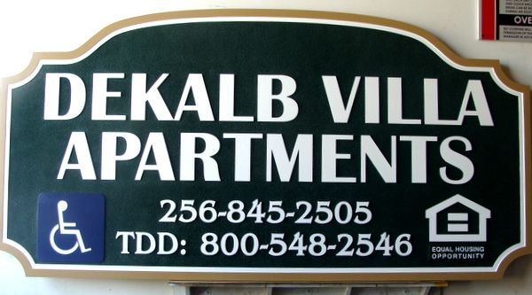K20162- Sandblasted, Carved HDU DeKalb Villa Apartment Sign with Phone Numbers