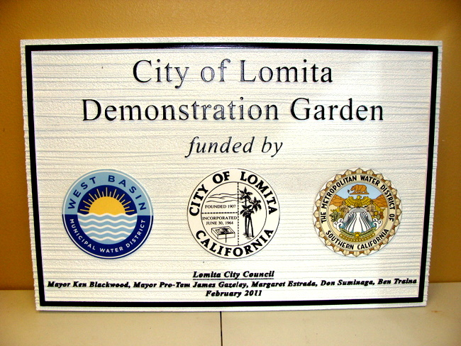 GA16474 - Carved HDU Sign for City of Lomita Demonstration Garden, Metropolitan and Municipal Water Districts