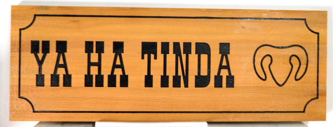 M22649 - Western Red Cedar Cabin Sign with Engraved Text, Border and Bighorn Sheep as Artwork