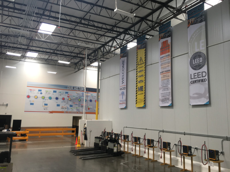 Warehouse wall murals and safety banners Fontana CA