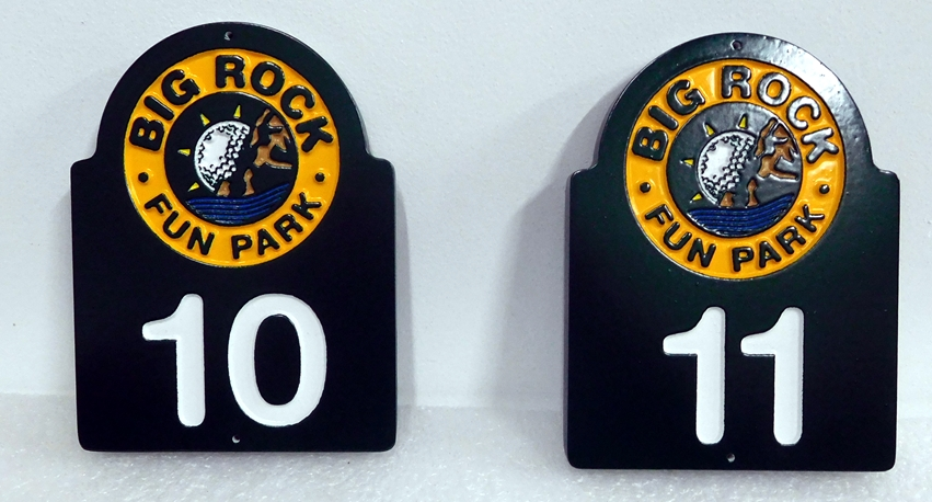 E14854- Carved HDPE Miniature Golf Hole Signs, for the Big Rock Fun Park