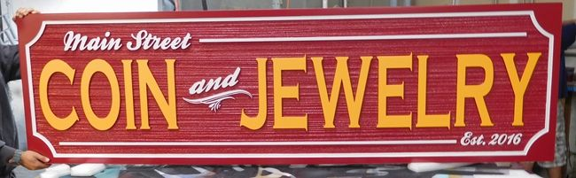 M5111 - Carved 2.5-D and Sandblasted Wood Grain Entrance and address Sign for the Coin & Jewelry Store