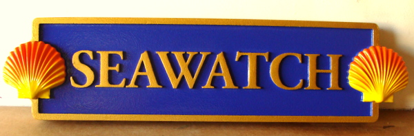 "L21882- Carved Quarterboard Sign ""Seawatch""  for Seashore Home, ""Seawatch"", with 3-D Carved Seashells"