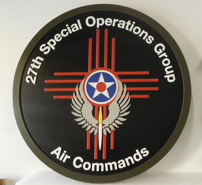 MP-1860- Carved Plaque of the Insignia the Special Operations Group, Air Commands, of the US Army,    Artist Painted