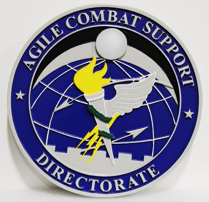 LP-4195 - Carved Plaque of the Crest of the Agile Combat Support Directorate, 2.5-D Artist-Painted
