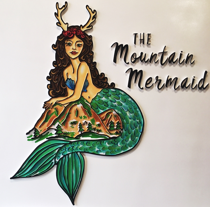 "SA28456 - Carved HDU sign for the ""Mountain Mermaid"" ,  2.5-D Raised Relief, Artist-Painted Mermaid Holding a Mountain as Artwork"