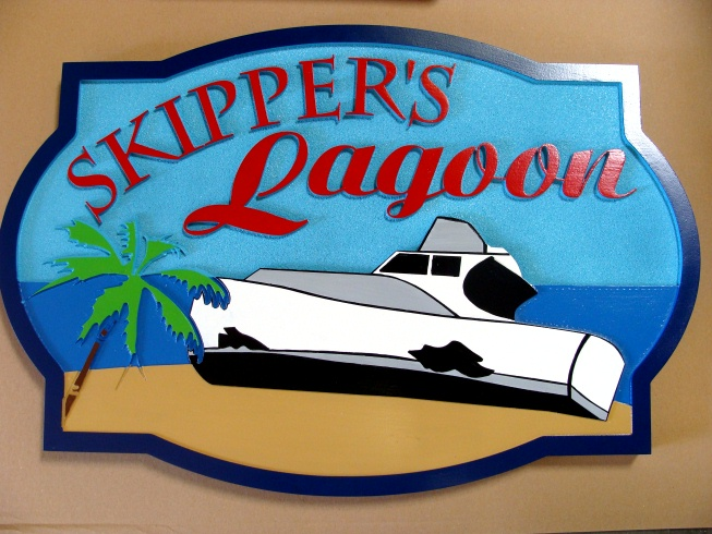 "L21452 - Multi-Level Sandblasted HDU Property Name Sign ""Skipper's Lagoon"" , with Wrecked Wooden Boat"