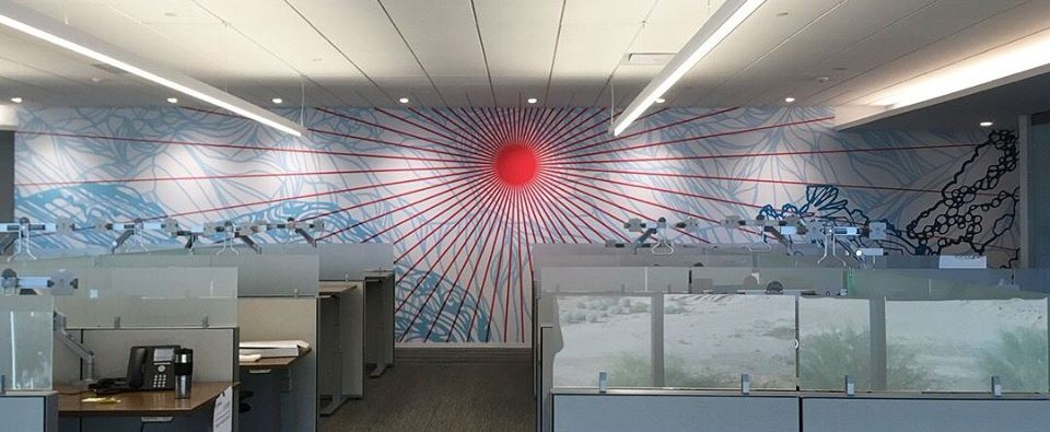 Wall murals energize and inspire visitors and employees