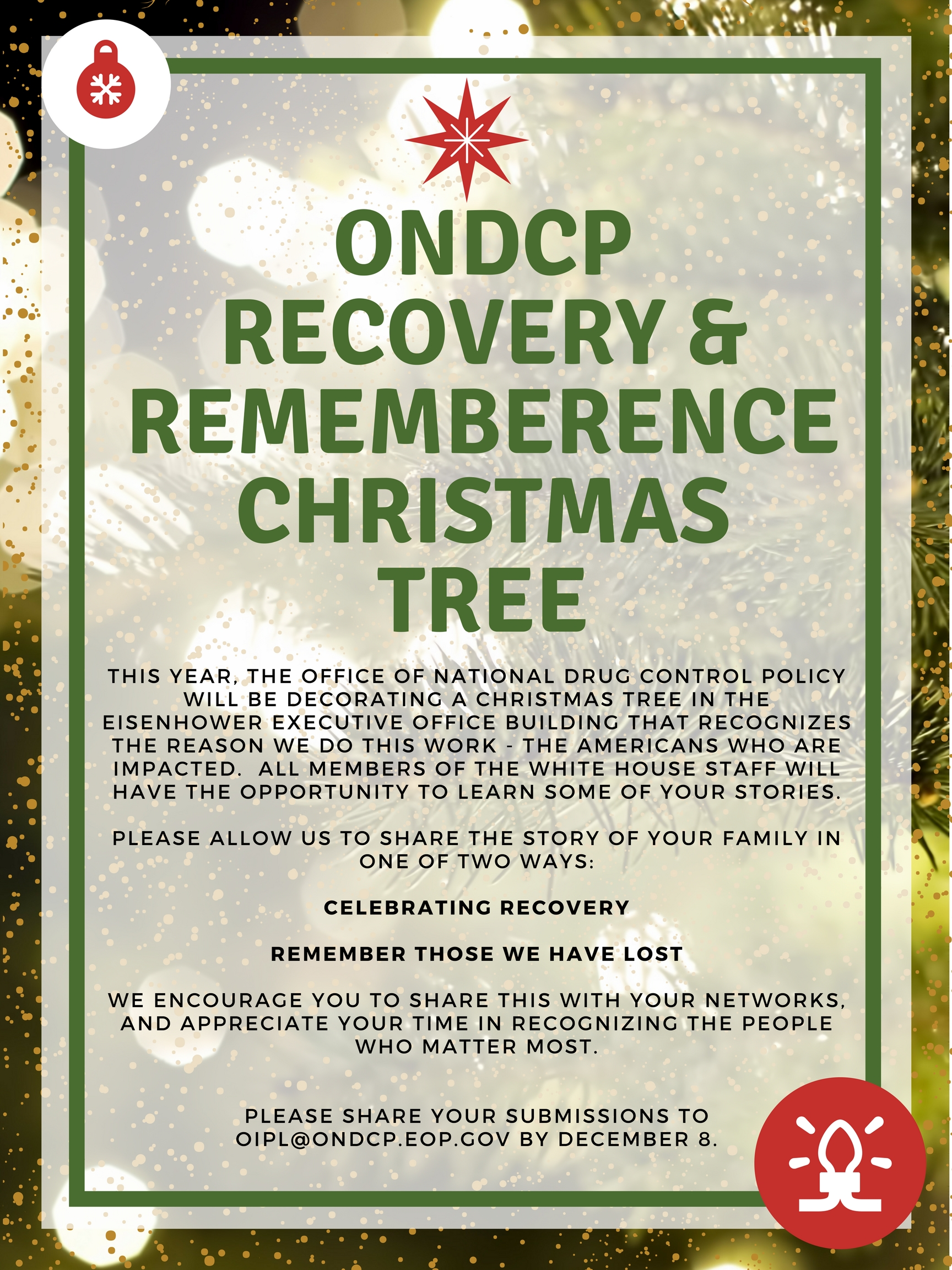 """ONDCP to decorate a """"Recovery & Remembrance"""" Christmas Tree"""