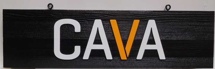"SA28332 - Carved Cedar Wood Hanging Sign for the ""CAVA"" Business, 2.5-D Artist-Painted."