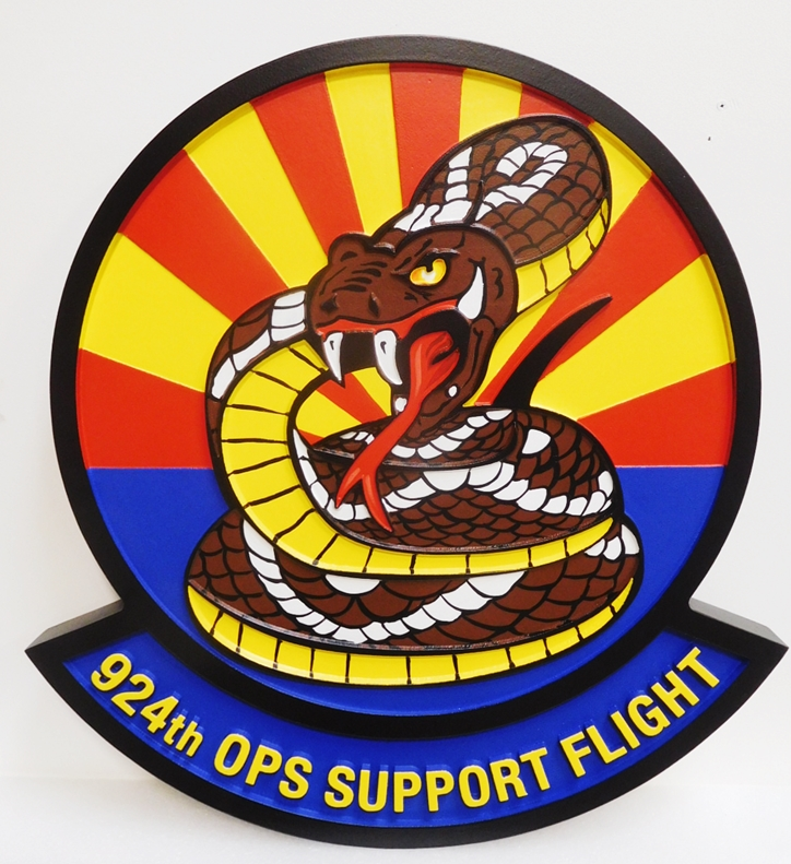 LP-4185 - Carved Round Plaque of the Crest of the 92nd Ops Support Flight, Artist-Painted with a Coiled Rattlesnake as Artwork
