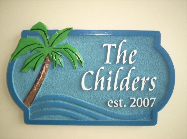 L21142 - HDU Name Address Sign with Palm Tree and Ocean Waves