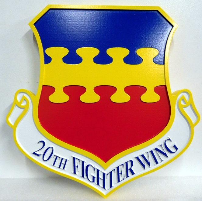 LP-2010 - Carved Shield Plaque of the Crest of the 20th Fighter Wing, Artist Painted
