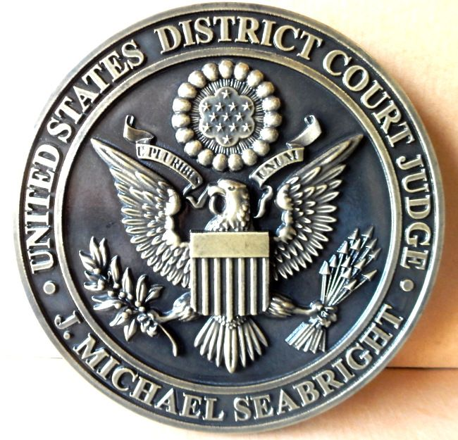 M7256 - Carved Nickel-Silver Coated Wall Plaque for the US District Court