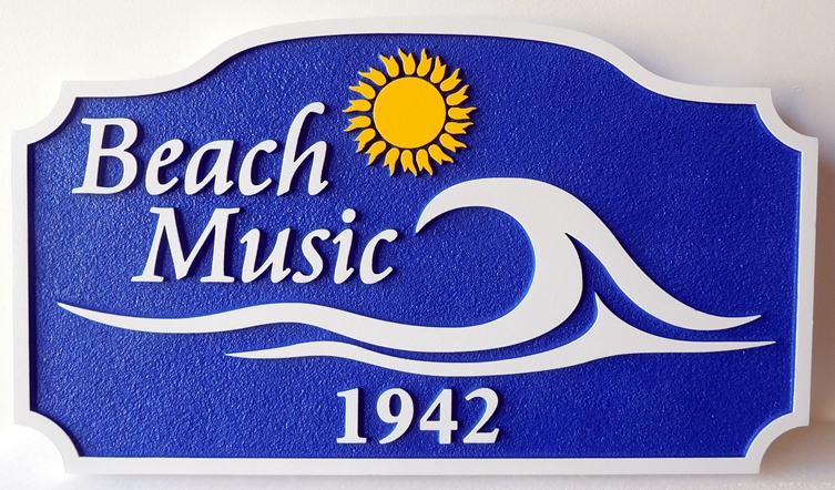 "L21177 - Carved and Sandblasted  2.5-D  property Name Sign ""Beach Music"", with Surf and Sun as Artwork"