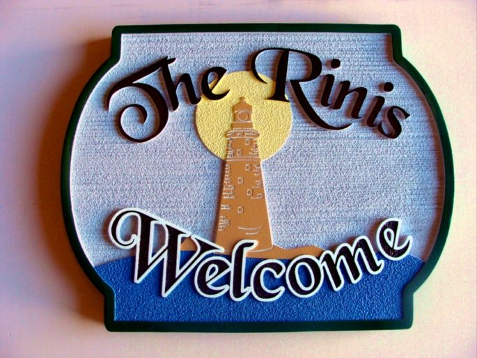 L21426- Carved and Sandblasted HDU Beach House Welcome Sign with Lighthouse