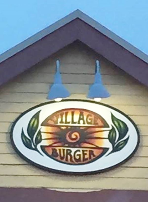 Q25813 - Carved Outdoor HDU Sign for Village Burger Restaurant