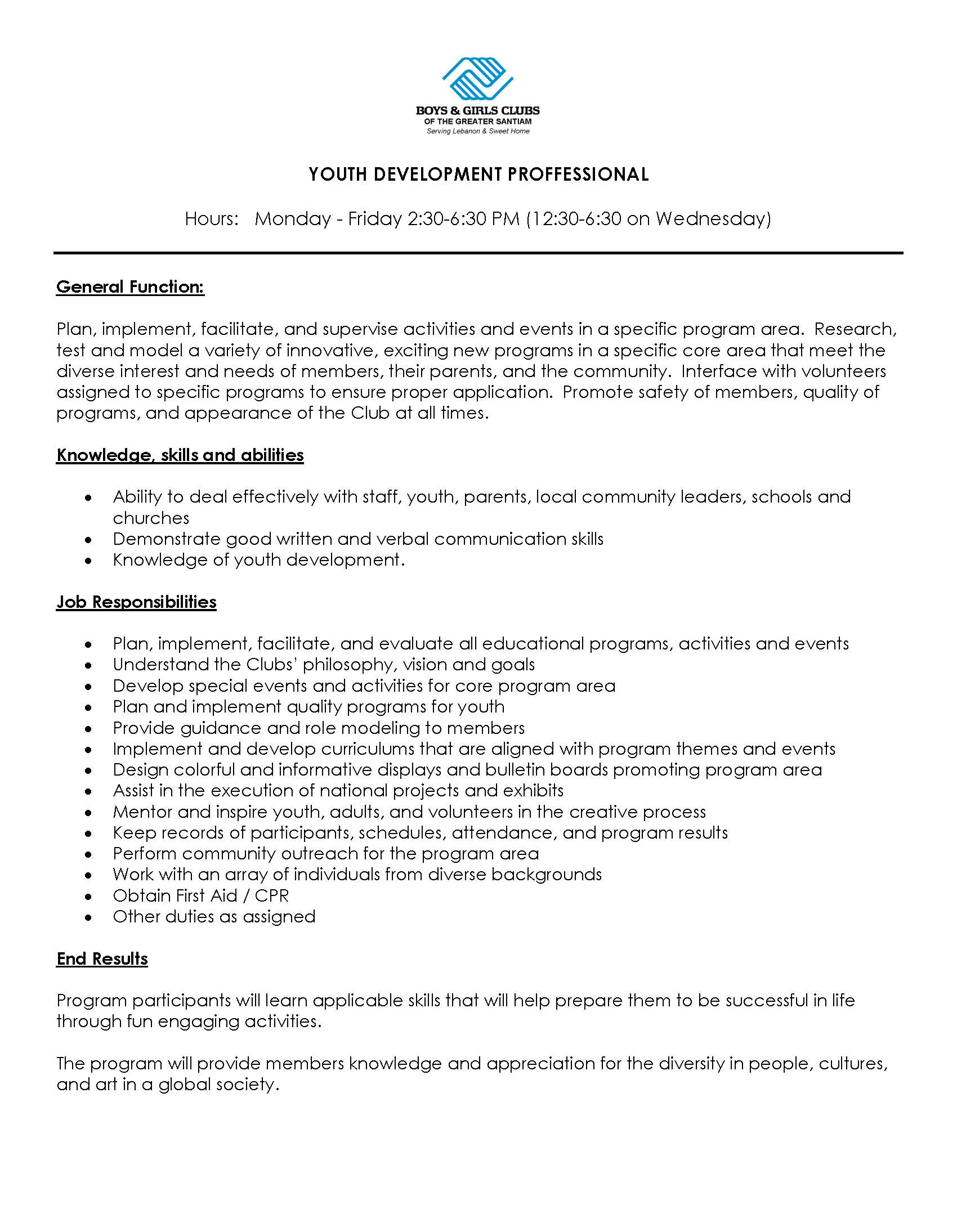 sample youth leader resume