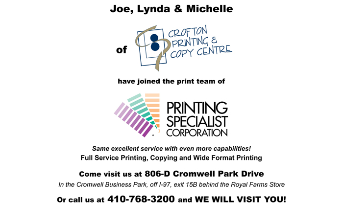 Welcome Crofton Printing