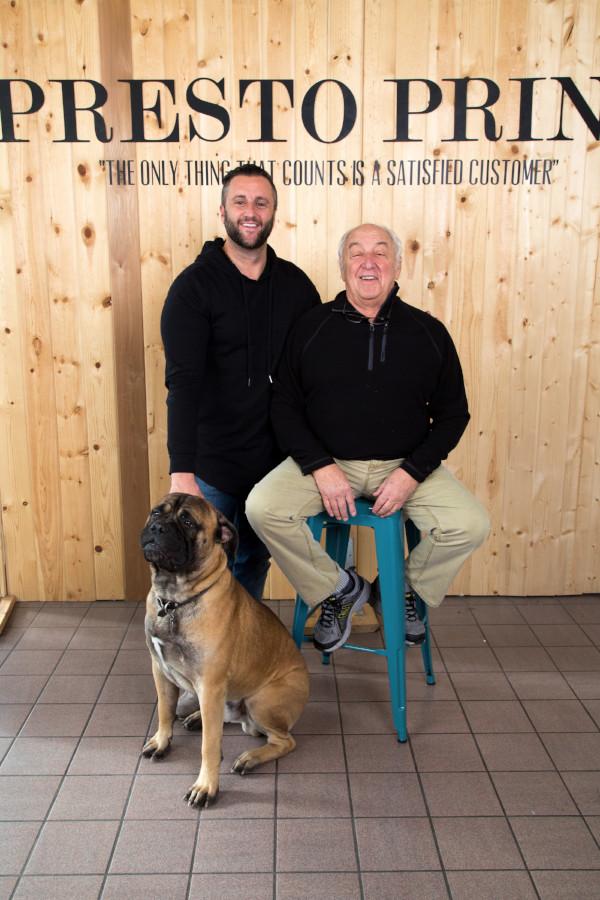 Presto Print staff and their dog