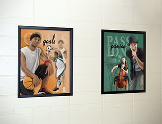 2 images of high school students in activities, sports, singing, custom signs