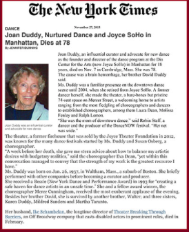 Joan Duddy, Nurtured Dance and Joyce SoHo in Manhattan, Dies at 78