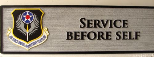 """V31680 -Motto Plaque for Air Force Special Command """"Service Before Self"""""""