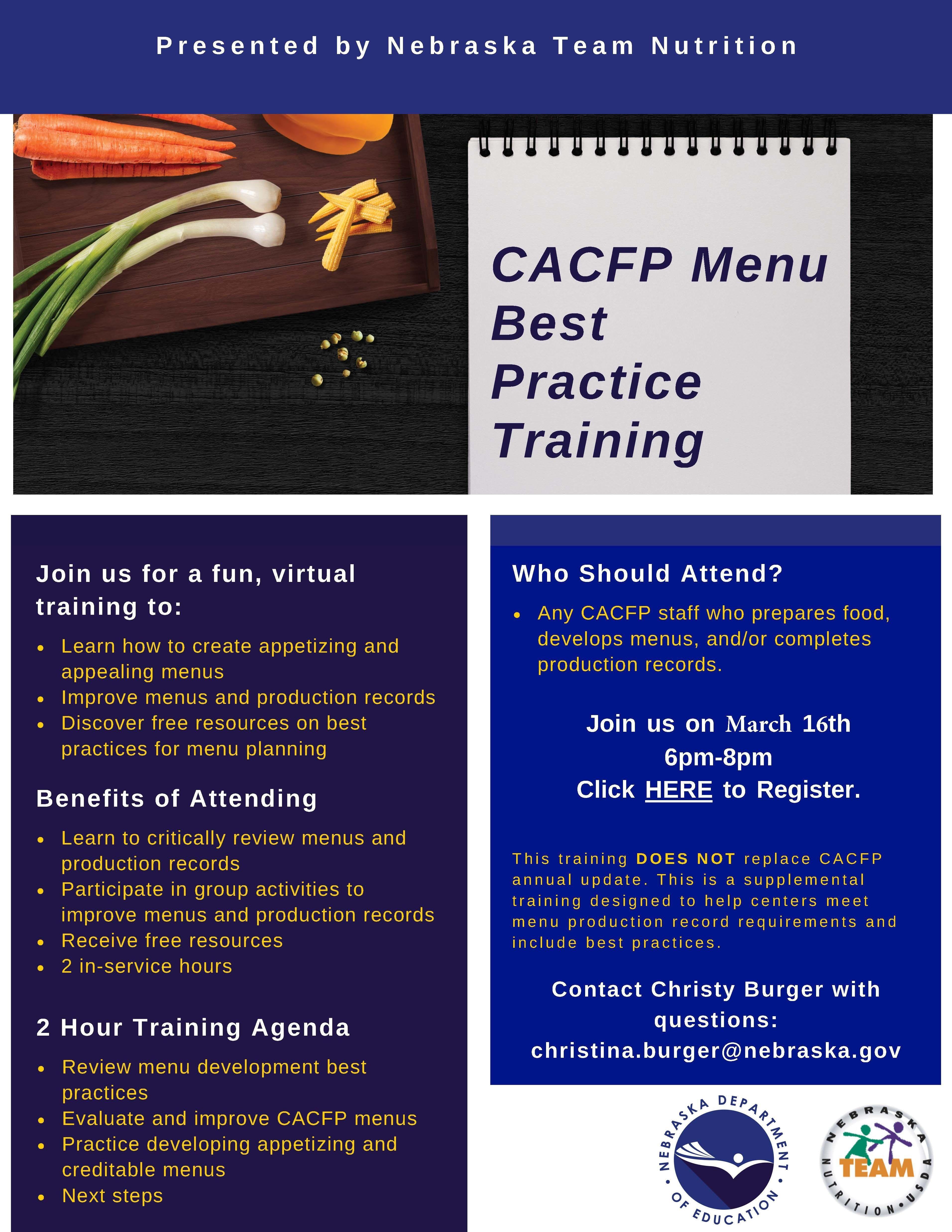 CACFP Best Practice Training
