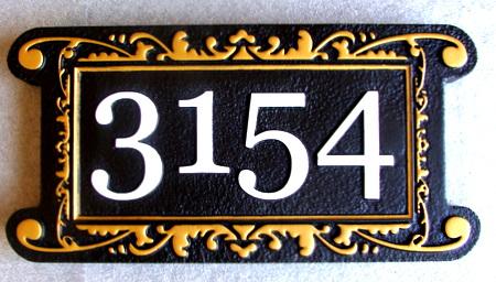 I18855 - Elegant Carved House Address Number Plaque, Black & Gold