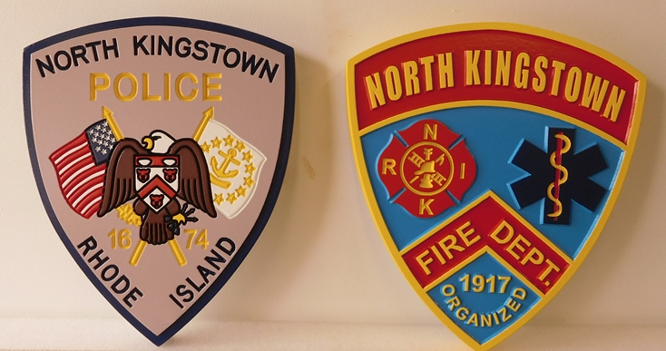 X33481 -   Two Carved and Engraved Wall  Plaques above  were  made for the North Kingstown, Rhode Island  Police and Fire Departments